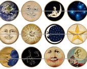 "1"" Inch Vintage Celestial Flat Back Buttons Pins or Magnets 12 Ct."