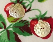 2 Vintage Carved Mother of Pearl MOP Buttons STRAWBERRY Strawberries