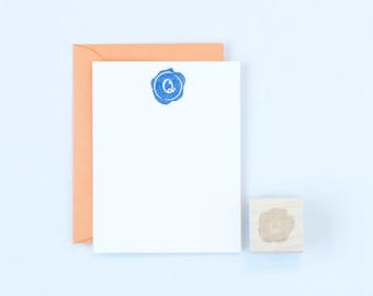 Wax Seal Monogram Rubber Stamp Stationery