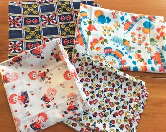 Vintage Fabric, Cute Kitschy Childrens Print Novelty Fabric, Nautical Print Anchors, Raggedy Ann, 7 Yard Stash