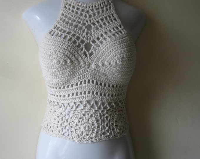 Festival  flower top, crochet halter top, music festival clothing, summer top, crochet boho top, gypsy clothing, hippie, beach cover up,