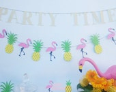 Glitter Garland PARTY TIME - Birthday - Bridal Shower - Photoshoot prop - Large letters Banner Flamingo and Pineapple Pool Party Decorations
