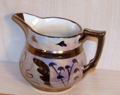 Antique Cumbow Copper Luster Small Creamer Pitcher with Floral Design
