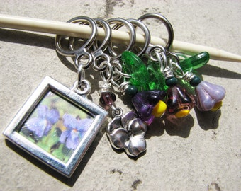 Violet, Pansy, or Johnny Jump-Up Flower Non-Snag Stitch Markers