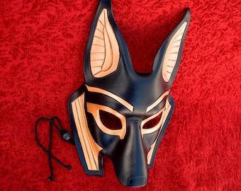 MADE TO ORDER Traditional Anubis Leather Mask... masquerade egyptian jackal costume mardi gras halloween burning man splicer