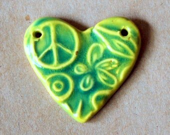 Sweet Ceramic  Heart Pendant Bead with Peace Sign and Flowers in Spring Green - 2 holed connector bead