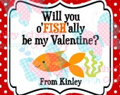 Valentine's Day Tag. o'fish'ally be my valentine. Goldfish Valentine. Class Valentines. Printable Tag. PDF File.Personalized.Square Tag. Red