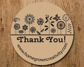 Customized Stickers - Black White Flower Garden Thank You Stickers - Labels - Wedding - Birthday Party - Thank You Stickers