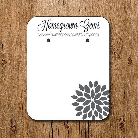 custom earring cards jewelry display tags with a modern grey