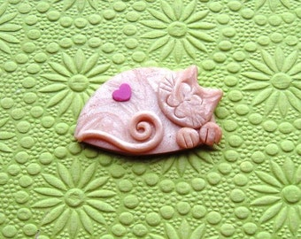 Polymer Clay Pearly Sleeping Smiling Cat pin brooch or magnet