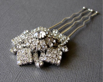 Pentagon Star Hairpiece Rhinestone Hair Comb Jeweled Wedding Headpiece Vintage Jewelry Ballroom Headdress Pageant Accessory Bohemian Chic