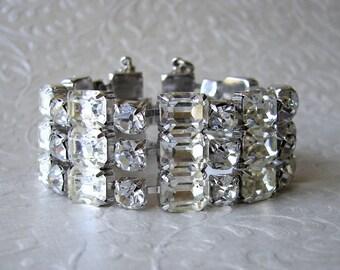 Vintage Big Rhinestone Cuff Bracelet Ballroom Pageant Costume Jewelry Wedding Accessory Bridal Accessories Downton Gatsby Chic Bride Prom