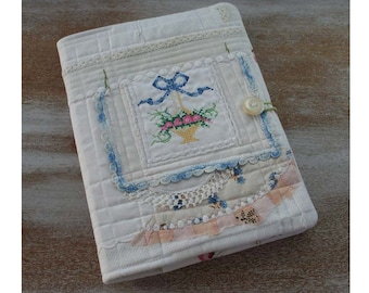 embroidery Rose Flower Basket Journal - COMPOSITION Notebook Book Cover