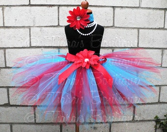 Red and Blue Tutu, Girls Birthday Tutu and Headband Set, Suess Sweetheart, Custom Sewn Pixie Tutu, Thing 1 & 2 Tutu