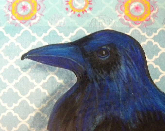 ACEO raven original mixed media blue mandala washi tape