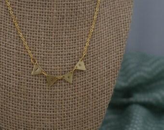 "Gold Triangle Flag Pendant ""Love"""