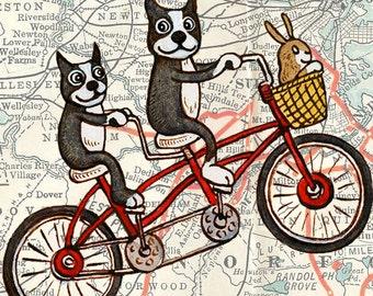 "Boston Map Bicycle Terriers Art Print 8"" x 10"""