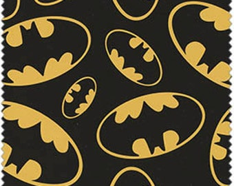 Batman Bat Signals on black,  1/2  yard
