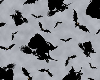 Whitch silhouette on grey, Witches Brew Haha from Quilting Treasures, yard