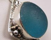Turquoise Aqua Blue Sea Glass Pendant  Necklace Sea Glass Jewelry - N-343