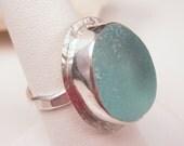 Aqua Sea Glass Ring Size 7  - R-073