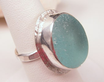 Sea Glass Jewelry Aqua Sea Glass Ring Gift for Her Christmas Gift Size 7  - R-073