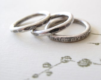Sterling Silver Stacking Rings rustic stack set size 6