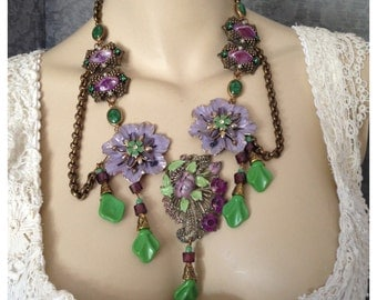 Dramatic Enameled Deco Dress Clip Necklace, Spring Flowers in Purple, Lavender, Green, Grapes