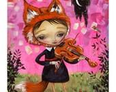 "Fox Girl Violinist - Pop Surrealism ""Fauna"" Print - by Heather Renaux-unframed"