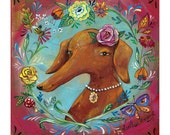 """Weiner Dog, Red Dachshund Portrait, Butterfly and Flowers, Dog with Necklace -  """"Hot Dog"""" Animal Print by Heather Renaux"""