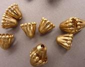 12 Bead Caps - Teardrop Brass 9 mm