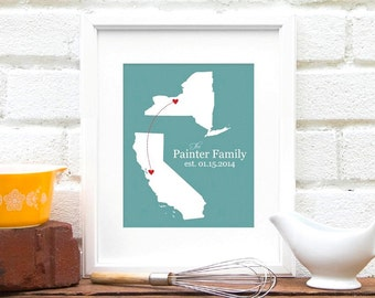Engagement Gift Long Distance Love Separated Couple Personalized Two States map State to State Map Wedding Anniversary Gift Bridal Shower