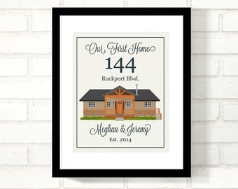 Custom Home Illustration : Family Established Sign, New Home Wall Art Our First Home, Personalized Real Estate Closing Gift - 8x10 Art Print