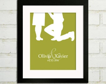 Personalized Engagement Gifts - Will You Marry Me - Couples Silhouette Modern Art Print : Choose your Names, Date and Color - Custom 8x10
