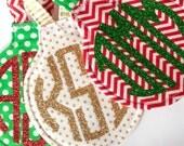 Set of 3 Glitter Monogrammed Ornaments