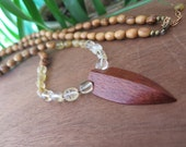 Wood Arrowhead Pendant with Citrine Necklace - Long Wood Beads- Yellow Ombre - Gypsy Tribal  - Hippie - Wooden Women's Jewelry