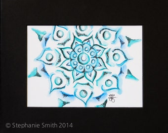 Original Expressive Energetic Mandala Matted Drawing: A Finer Thing