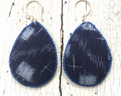 Indigo Kasuri Textile Earrings with Sterling Ear Wires
