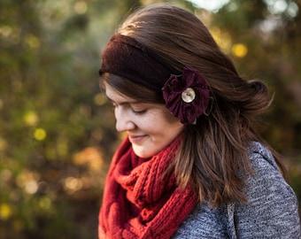 Cozy Espresso Sweaterknit Headwrap - Garlands of Grace headband headcovering headwrap ear warmers