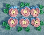 6 handmade cotton thread crochet applique pansies with leaves  --  204