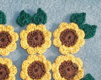 6 brown and yellow handmade crochet applique flowers with leaves  --  643