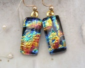 Petite Dichroic Glass Earrings, Glass Jewelry, Dangle, Gold Filled
