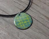 Handmade Copper Enamel Cobblestone Necklace, Enamel on Copper, Cobblestones Grid, Necklace, Blue on Green, Chartreuse Green, Dusty Blue