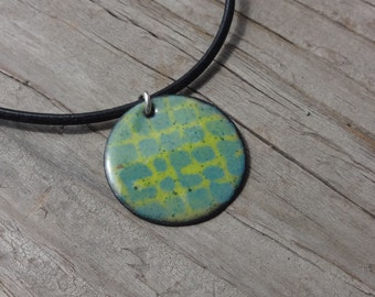 Sale Handmade Copper Enamel Cobblestone Necklace, Enamel on Copper, Cobblestones Grid, Necklace, Blue on Green, Chartreuse Green, Dusty Blue