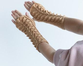 Beige Fingerless Gloves---handmade-ready to ship