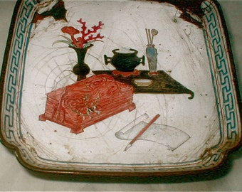 Antique Enameled Dish - The Meal Presented - Studio Workspace Repast - Painted Enamel - Vase Tray and Lunch is Served Treasures of the Study
