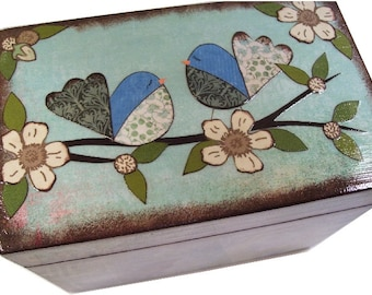 Bridal Shower Recipe Box, Wedding Guest Book Box, Decoupage Wood Box, Recipe Holder, Kitchen Organizer, Holds 4x6 Cards, MADE TO ORDER