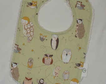 Cool Sage Owls and Chenille Bib