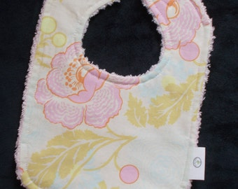 Amy Butler Linen Poppies and Chenille Bib - SALE