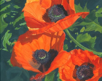 Red Poppies Three flowers floral acrylic painting Giclee Reproduction 11x14